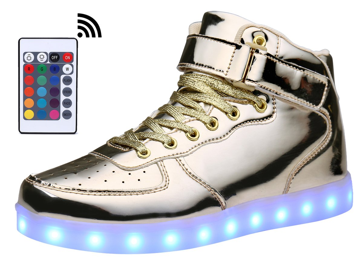 d16d9c7ede Galleon - MOHEM ShinyNight High Top LED Shoes Light Up USB Charging  Flashing Sneakers(1687003ShiningGold30)