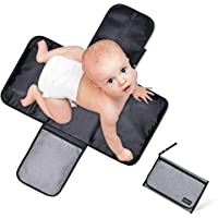 Baby Diaper Changing Pad, Covvy Portable Waterproof Diaper Changing Station with Head Cushion, Foldable Travel Baby Changing Mat with Pockets for Wipes & Diapers - Compact and Lightweight