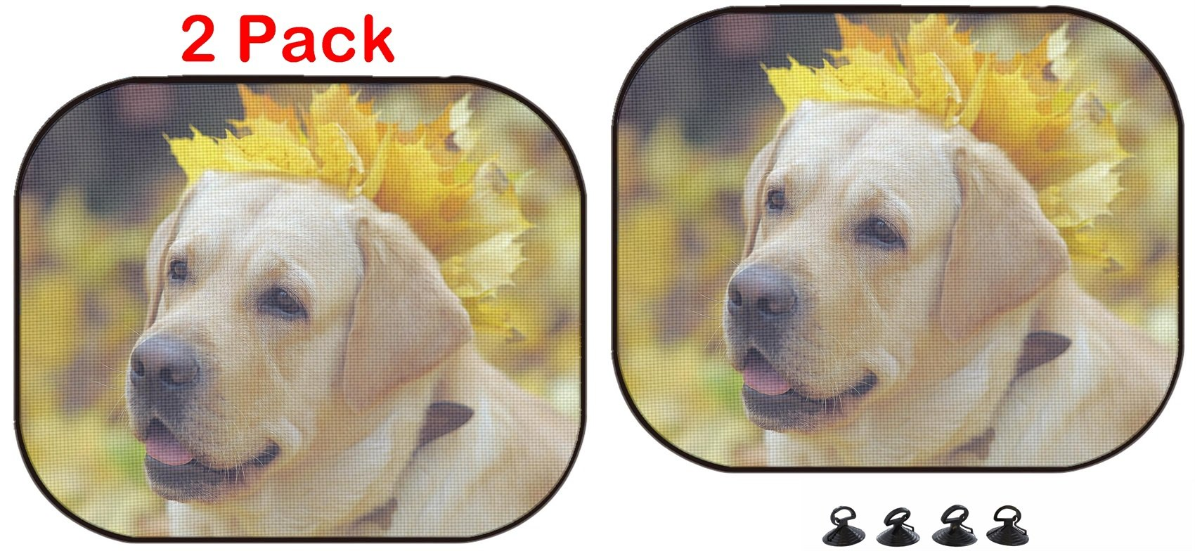 Luxlady Car Sun Shade Protector Block Damaging UV Rays Sunlight Heat for All Vehicles, 2 Pack Image ID: 34431368 Labrador Retriever in Autumn Leaves by Luxlady