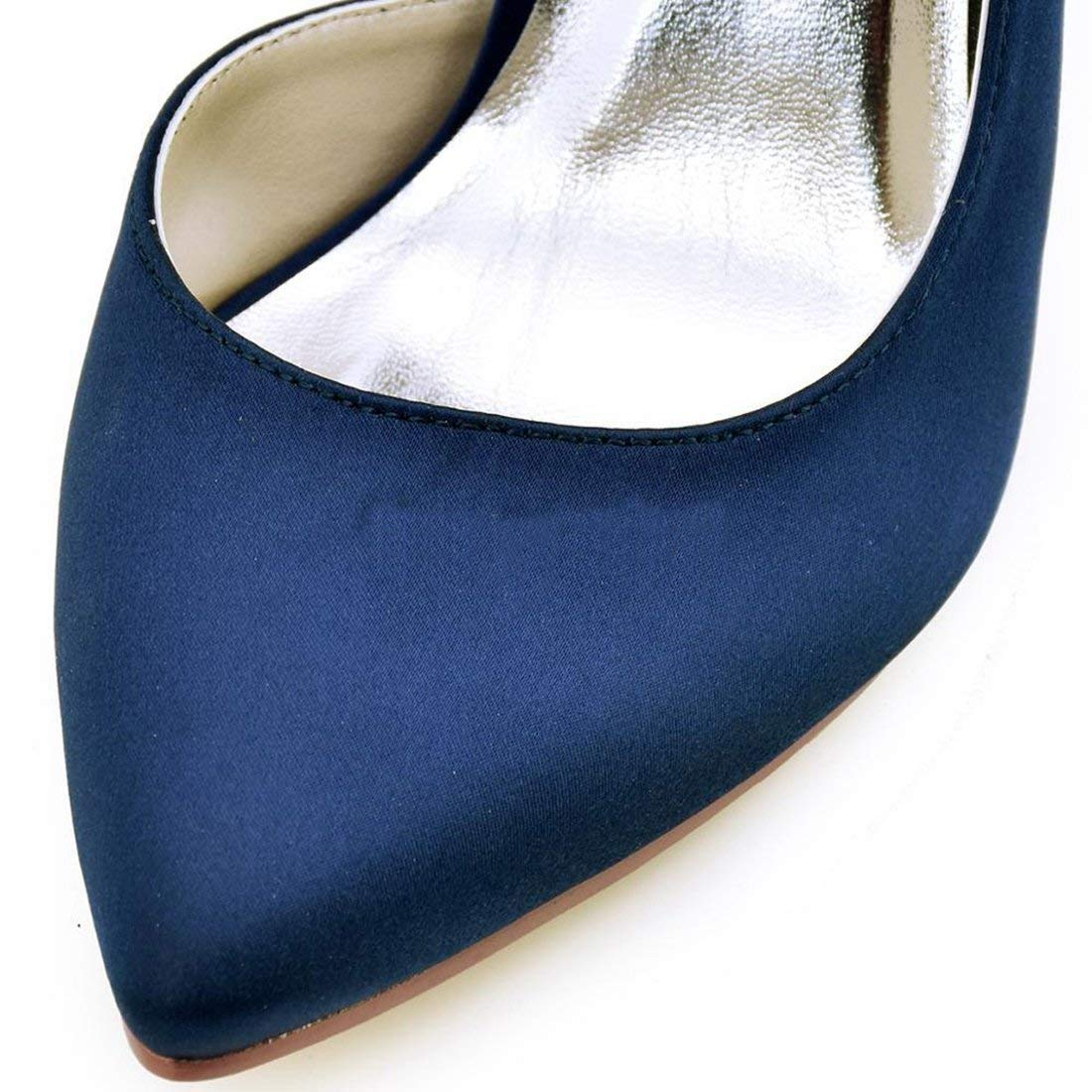 Qiusa Damen Mandel Toe D'Orsay D'Orsay D'Orsay Marineblau Satin Braut Hochzeit Formelle Partei Schuhe UK 2 (Farbe   - Größe   -) a5c527