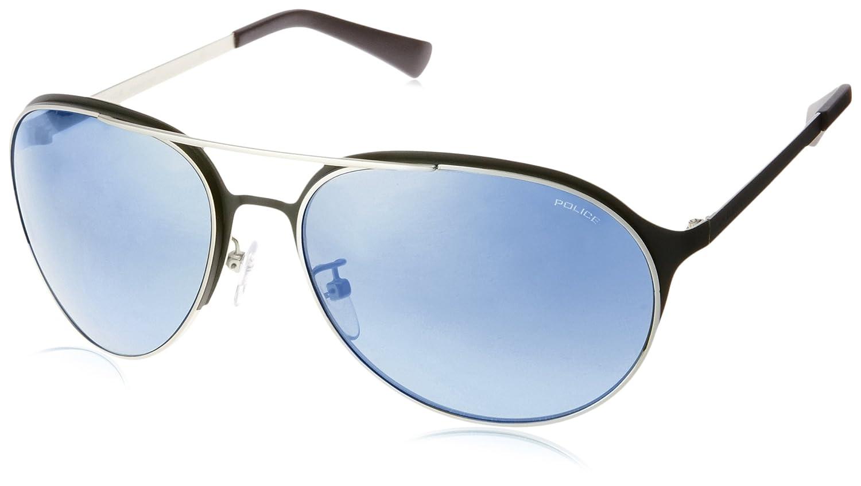 Police Herren Sonnenbrille S8951M, Blau (Matt Palladium/Blue), One size
