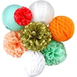 Lot de Boules Alvéolée Lampion Lanterne Pompon Papier pour Décoration de Mariage Baptème Anniversaire Fiançailles Partie