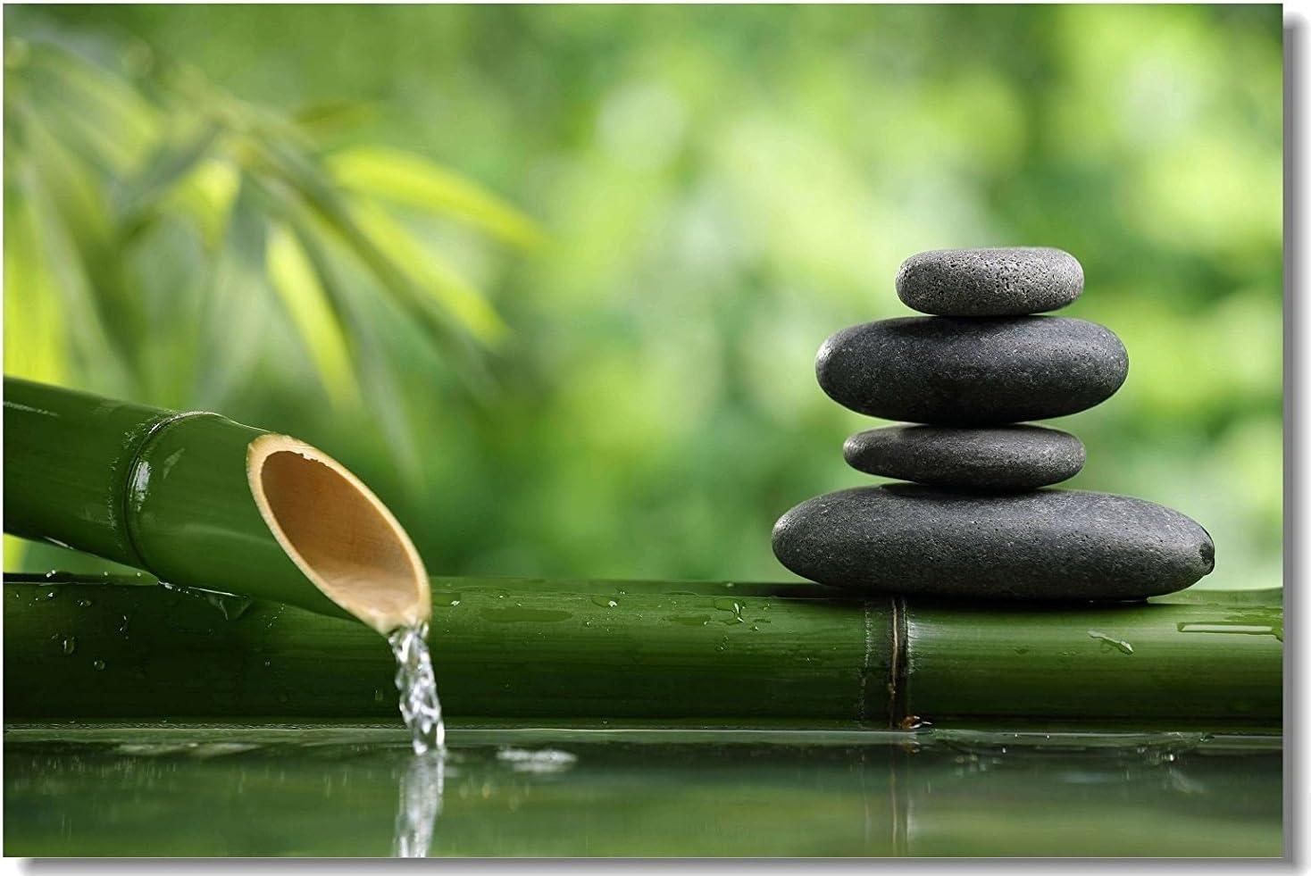 """16"""" x 24"""" Indoor Outdoor Front Door Bathroom Mats Zen Stone Garden Rocks Spa Bamboo Fountain"""