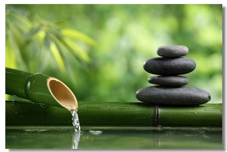 16'' x 24'' Indoor Outdoor Front Door Bathroom Mats Zen Stone Garden Rocks Spa Bamboo Fountain