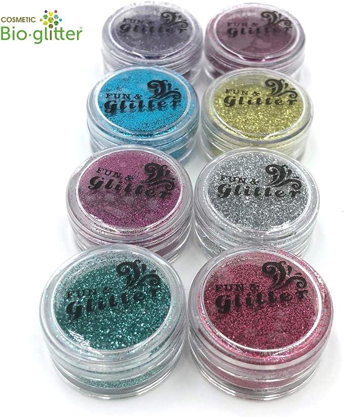 Purpurina Biodegradable de Tatuaje – Pack de 8 Colores Brillantes ...