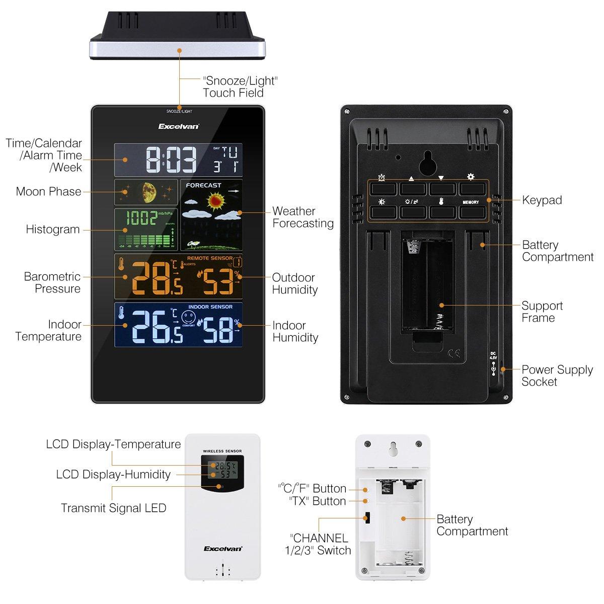 Excelvan PT3389 Estación Meteorológica con Pantalla LCD, Soporte para Colocación, Sensor Inalámbrico, Alarma del Snooze, Previsión Meteorológica, ...