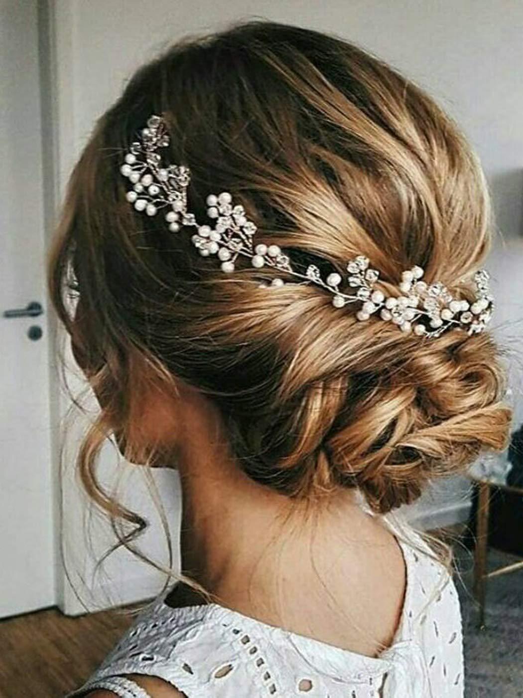 Amazon.com   Artio Bride Wedding Hair Vine Accessory with Crystals Gold Flower  Hair Piece Rhinestone Bridal Headpiece for Bride   Beauty ad0ff1381dd1