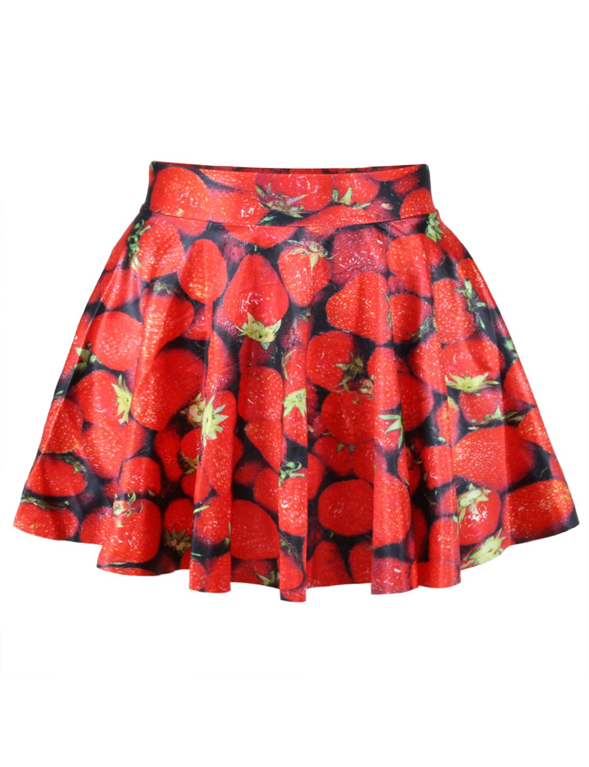 Pink Queen Women Girls Digital Print Stretchy Flared Pleated Casual Mini Skirt (Free Size, Red Strawberry)