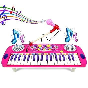 ASTOTSELL Kids Piano, 37 Teclas, órgano eléctrico, multifunción, Teclado de Piano, Instrumento Musical con micrófono: Amazon.es: Juguetes y juegos
