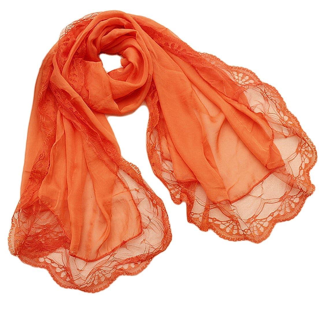Donna Colore Solido Pizzo Chiffon Partito Stole Scialli Sciarpe Wrap Arancione