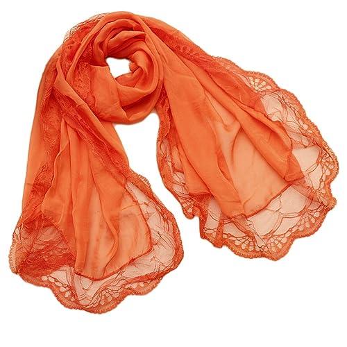 Donna Colore Solido Pizzo Chiffon Partito Stole Scialli Sciarpe Wrap(Arancione)