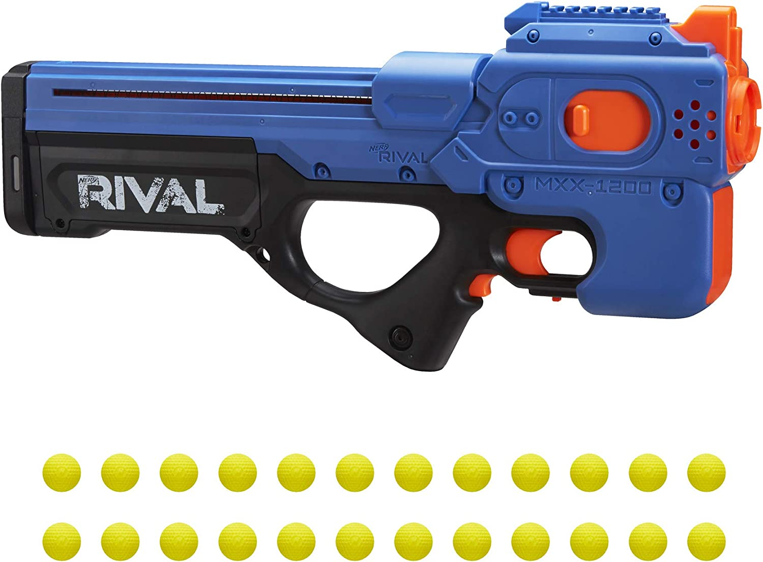 NERF Rival Charger MXX-1200 Motorized Blaster -- 12-Round Capacity, 95 FPS Velocity -- Includes 24 Official Rival Rounds -- Team Blue