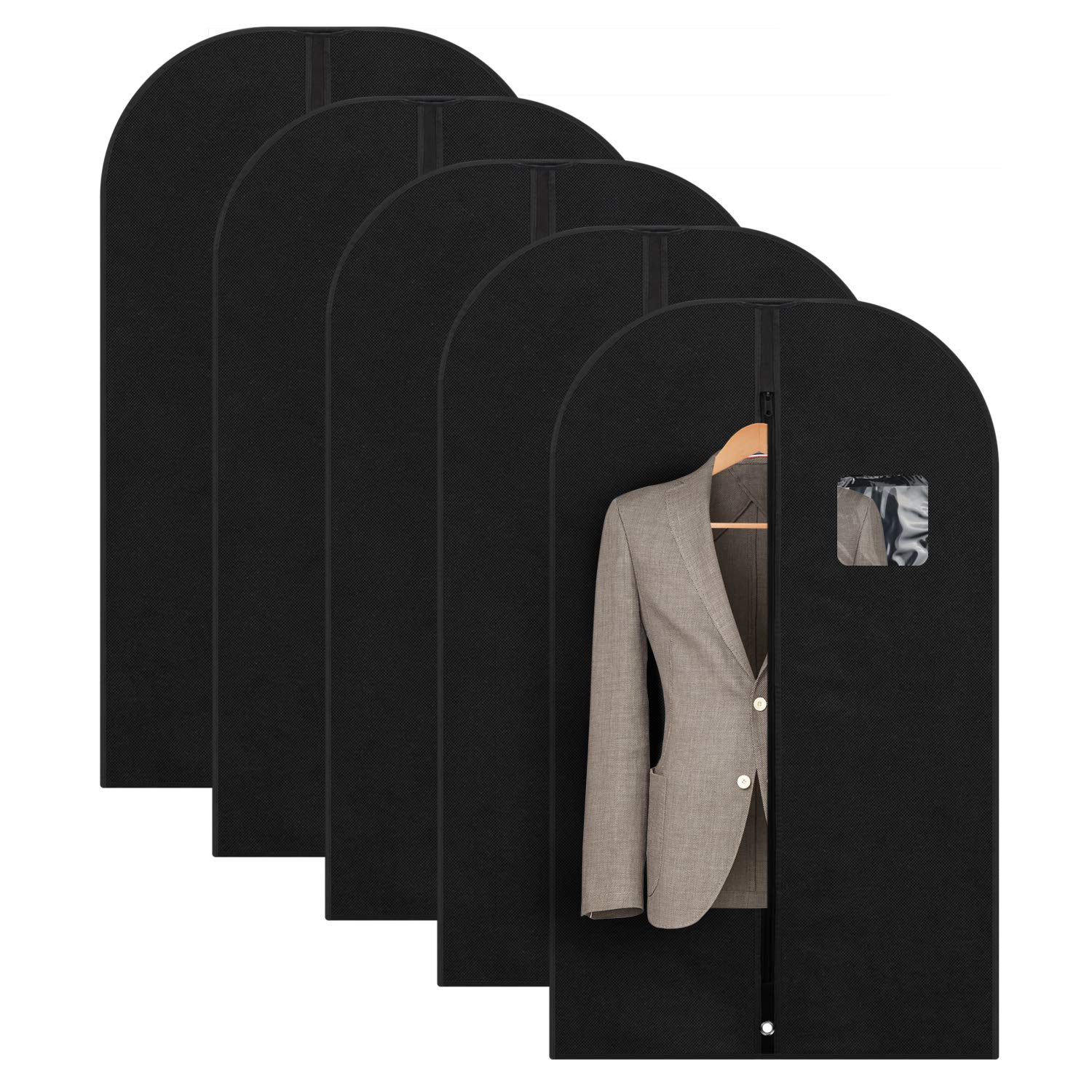 Titan Mall Suit Garment Bag for Storage Dress Garment Covers with Clear Window for Travel Pack of 5