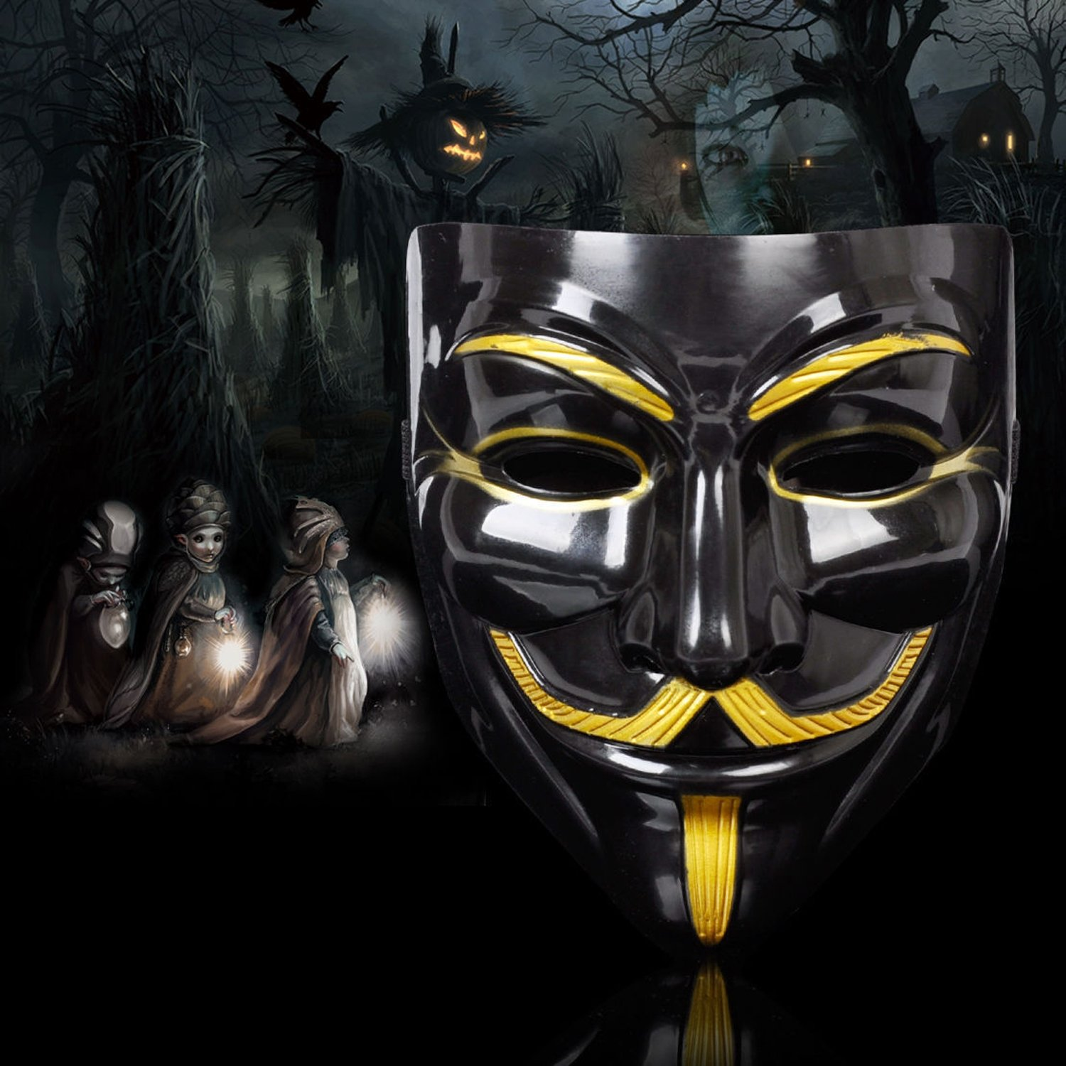 Amazon.com: Lantusi Durable Iconic Anonymous Face Mask Black & Gold Guy Fawkes Mask Perfect Fit Cosplay V for Vendetta: Clothing