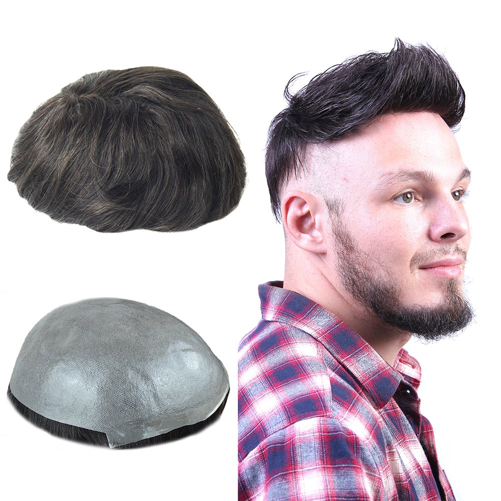 Human Hair Toupee for Men with 8x10 Inch 0.06mm Skin Cap V-looped and Black Vrigin Natural Wave Hair, Mens Toupee Wigs Hair Pieces Replacement System for Men by LLWear by LLWear (Image #1)