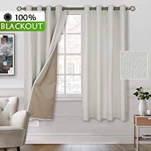 BGment 100% Blackout Curtains with Liner for Bedroom, Grommets Thermal Insulated Textured Linen Lined Curtains for Living Room (52 x 63 Inches, 2 Panels, Ivory White)