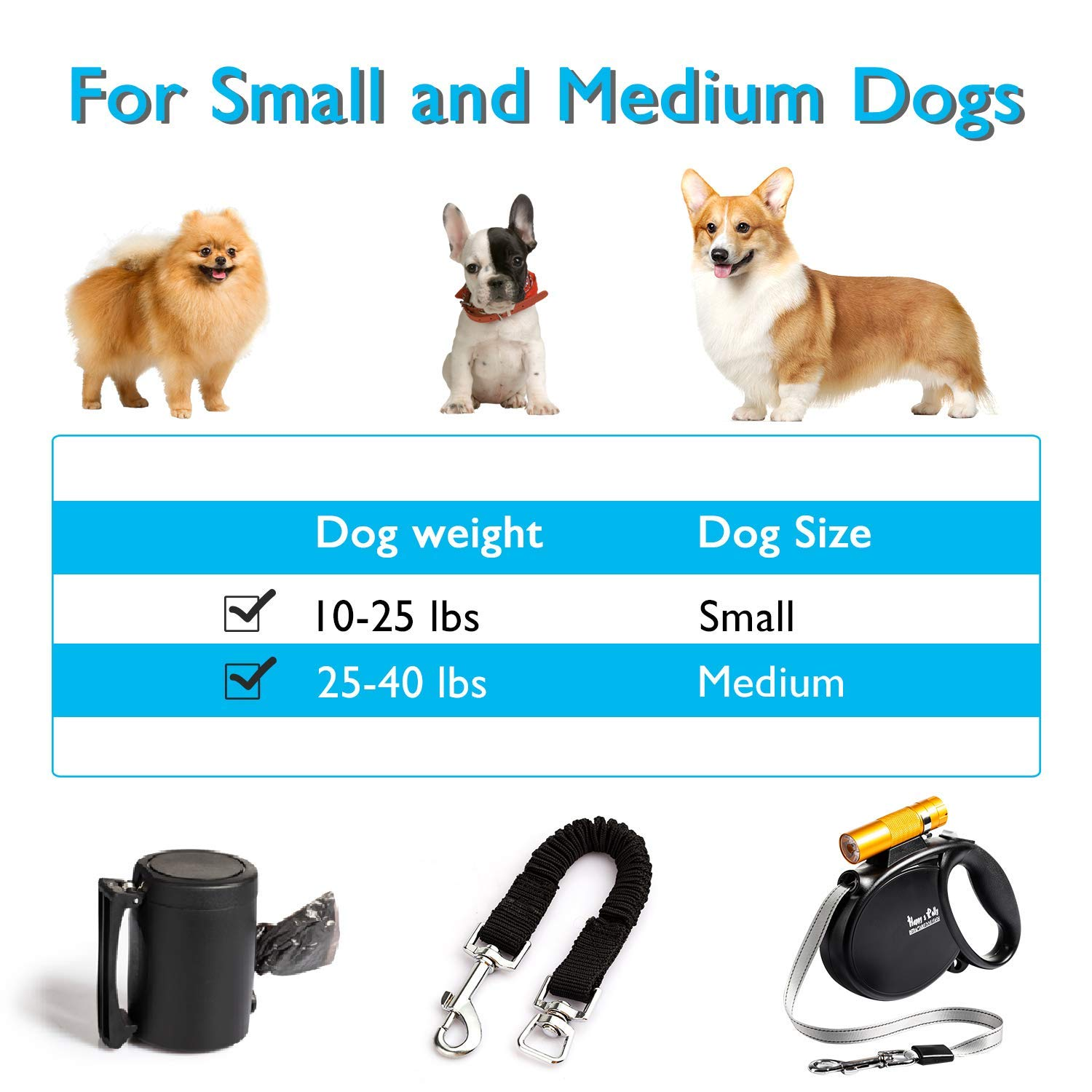 Happy & Polly 4 in 1 Dog Leash Retractable Dog Leash 16.4 ft Dog Walking Leash with Flashlight Detachable/Protective Bungee Leash/Magic Box Dispenser Poop Bags for Small Medium Dogs, Golden