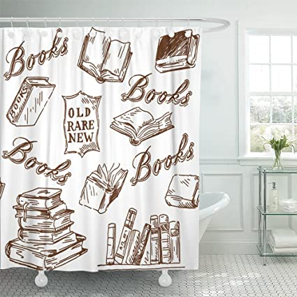 Emvency Shower Curtain With Hook Polyester Fabric Vintage Books Pattern Library Literature Store Old Sign Sketchy