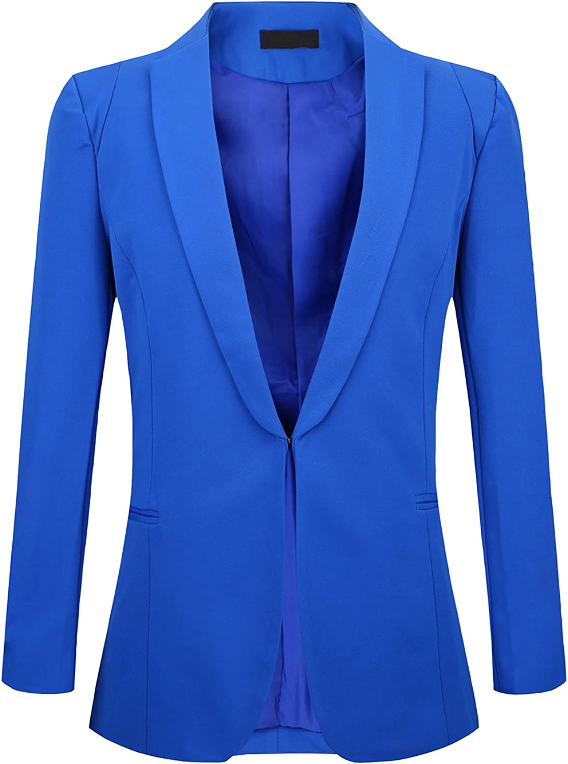 JHVYF Women's Casual Basic Work Jacket Open Front Office Solid Color Blazer Suit