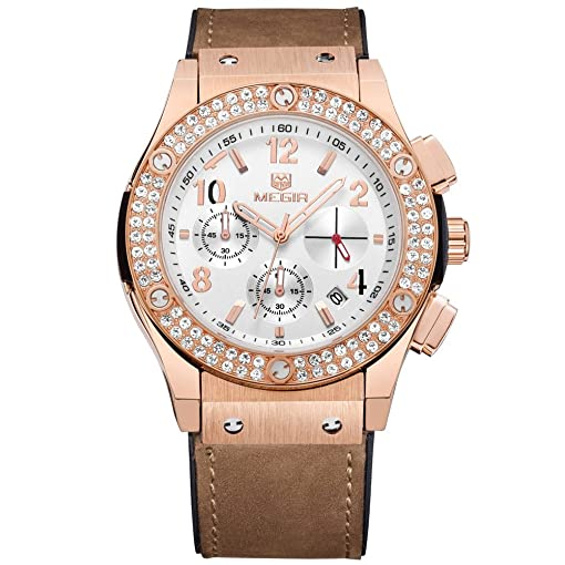 Amazon.com: Relojes De Mujer Moda 2018 Women Quartz Rose Gold Diamond Crystal Chronograph Watch Fashion Luxury Relogio Feminino: Watches
