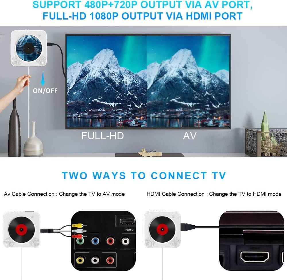 Reproductor de DVD CD Portátil Bluetooth, 1080p HD HDMI Conexión ...