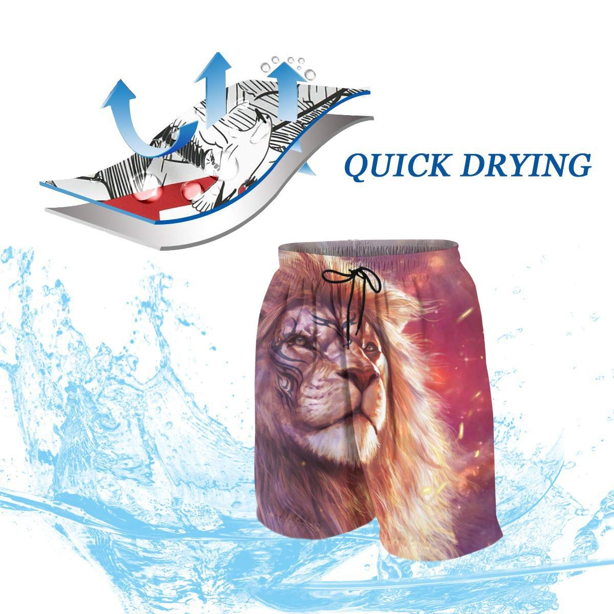 Cool Modern Lion Art King Galaxy Sunset Teen Swim Trunks Bathing Suit Shorts Board Beach