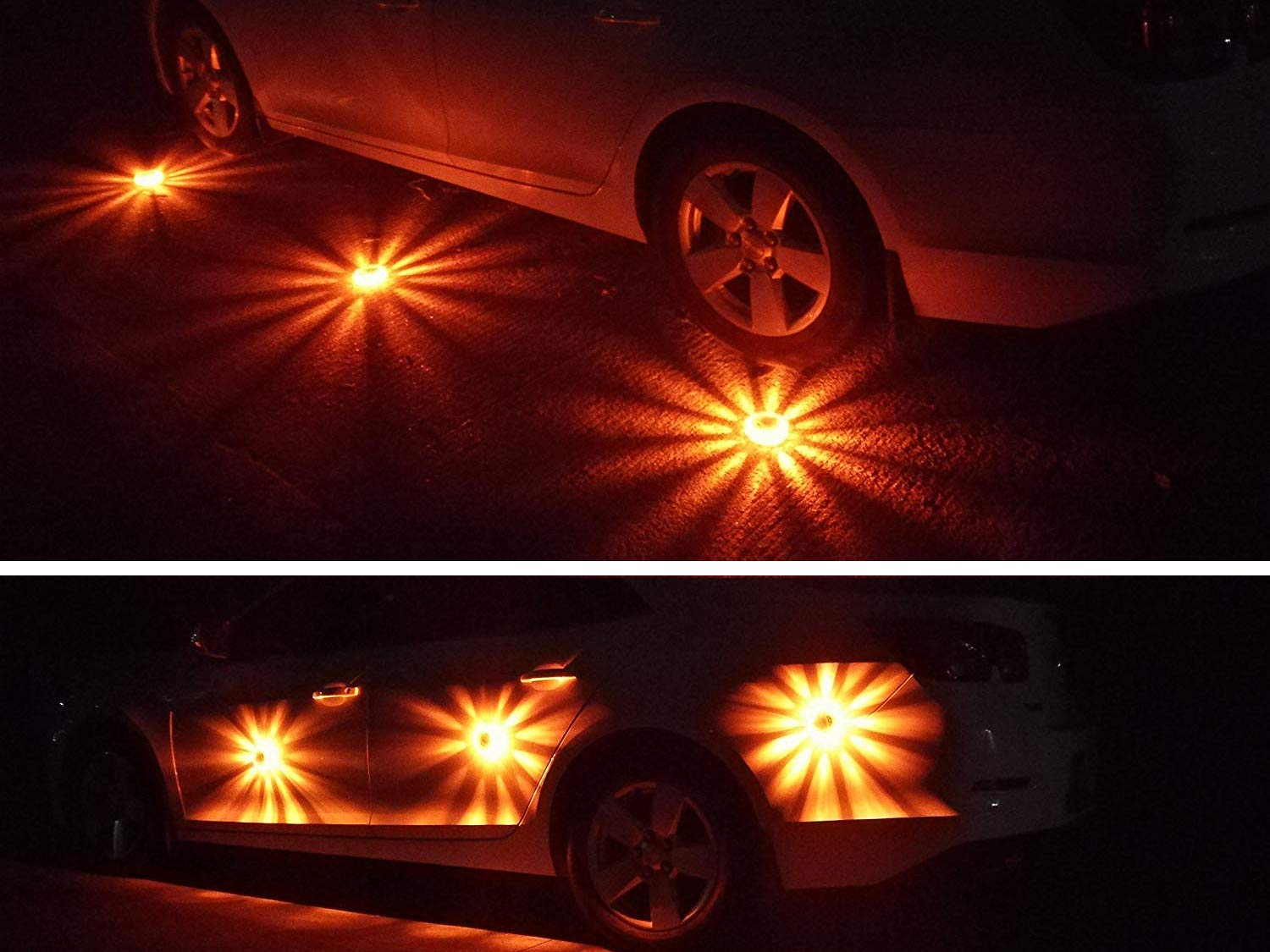 Tobfit 3 Pack LED Road Flares Emergency Lights Roadside Safety Beacon Disc Flashing Warning Flare Kit with Magnetic Base & Hook for Car Truck Boats | 9 Flash Modes (Batteries Not Included) (3) by Tobfit (Image #7)