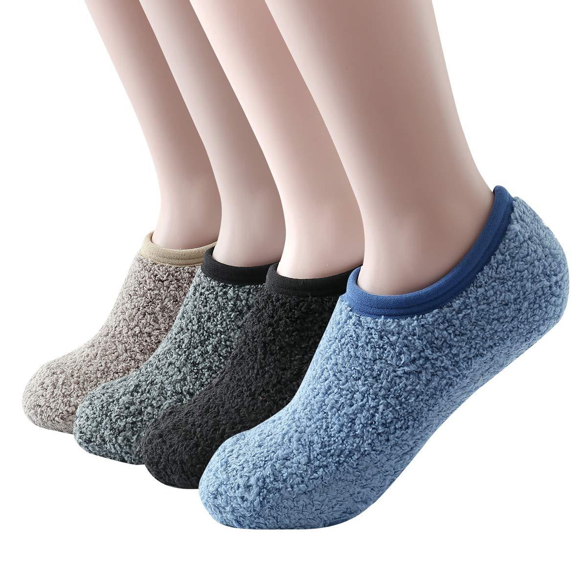 SKOLA Cozy Fuzzy Slippers Socks for Women, Fluffy No Show Socks With Non Skid SFBCAWDJ04