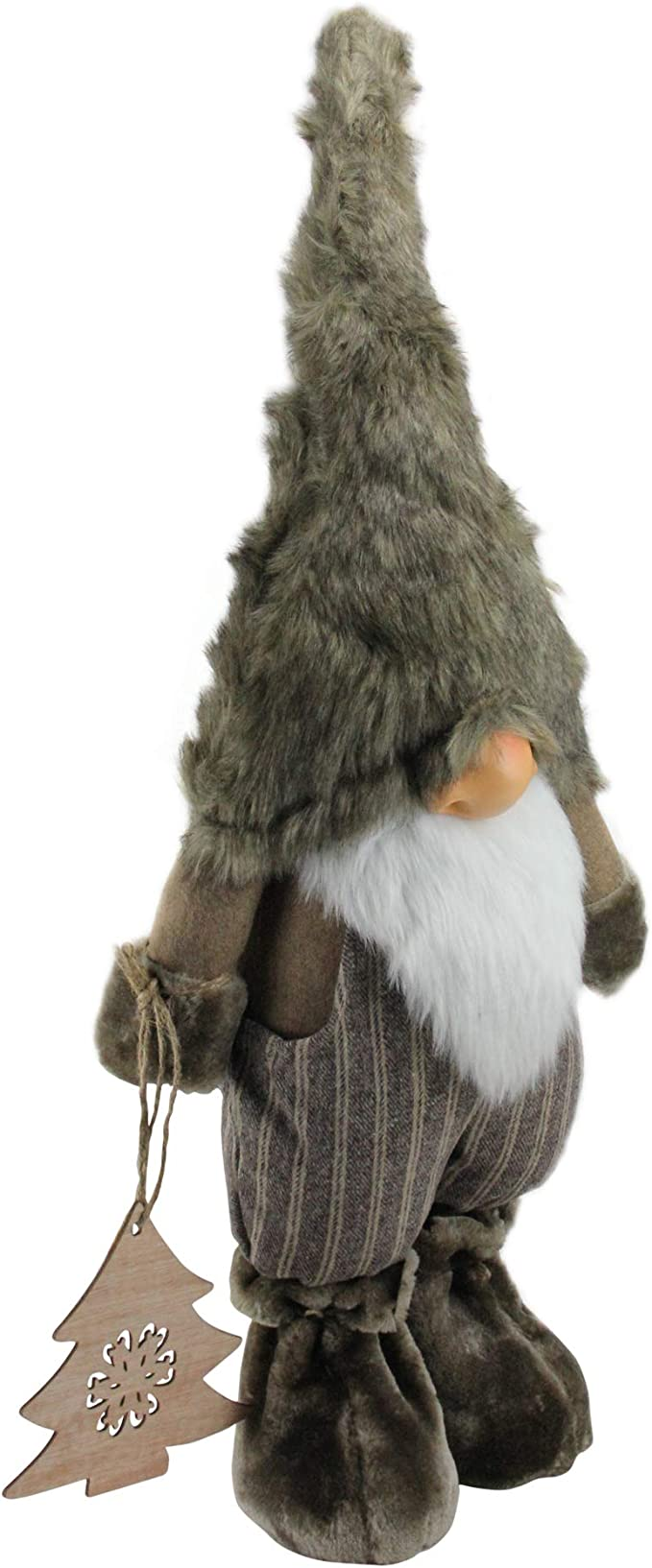 Amazon Com Northlight 33 Large Woodland Gnome With Striped Pants Holding Christmas Tree Brown Home Kitchen