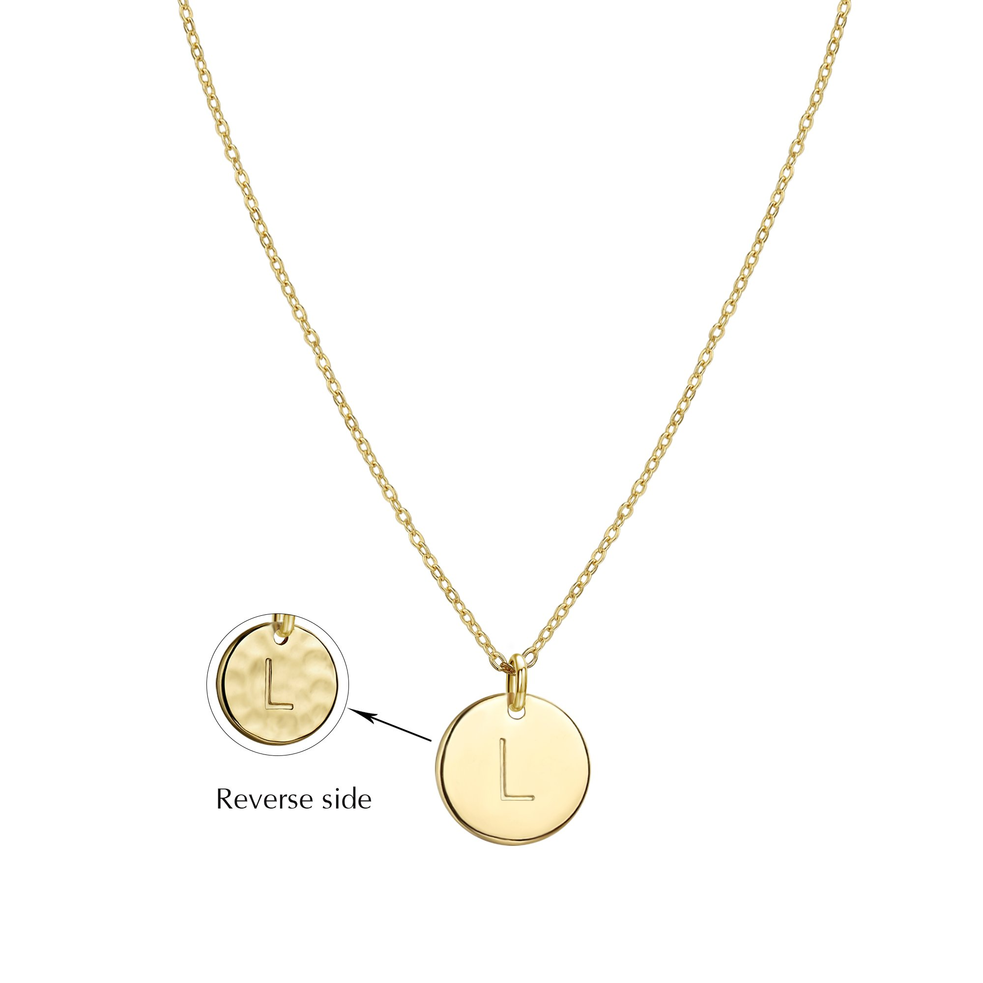 Befettly Hammered Necklace Pendant 14K Gold-Plated Round Disc Double Side Engraved Initial Pendant 17.5'' Adjustable Necklace with Personalized Alphabet Letter L