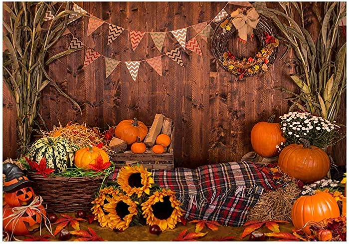 Funnytree 7x5ft Fall Thanksgiving Photography Backdrop Rustic Wooden Floor Barn Harvest Background Autumn Pumpkins Maple Leaves Sunflower Baby Portrait Party Decoration Photo Studio Booth Props