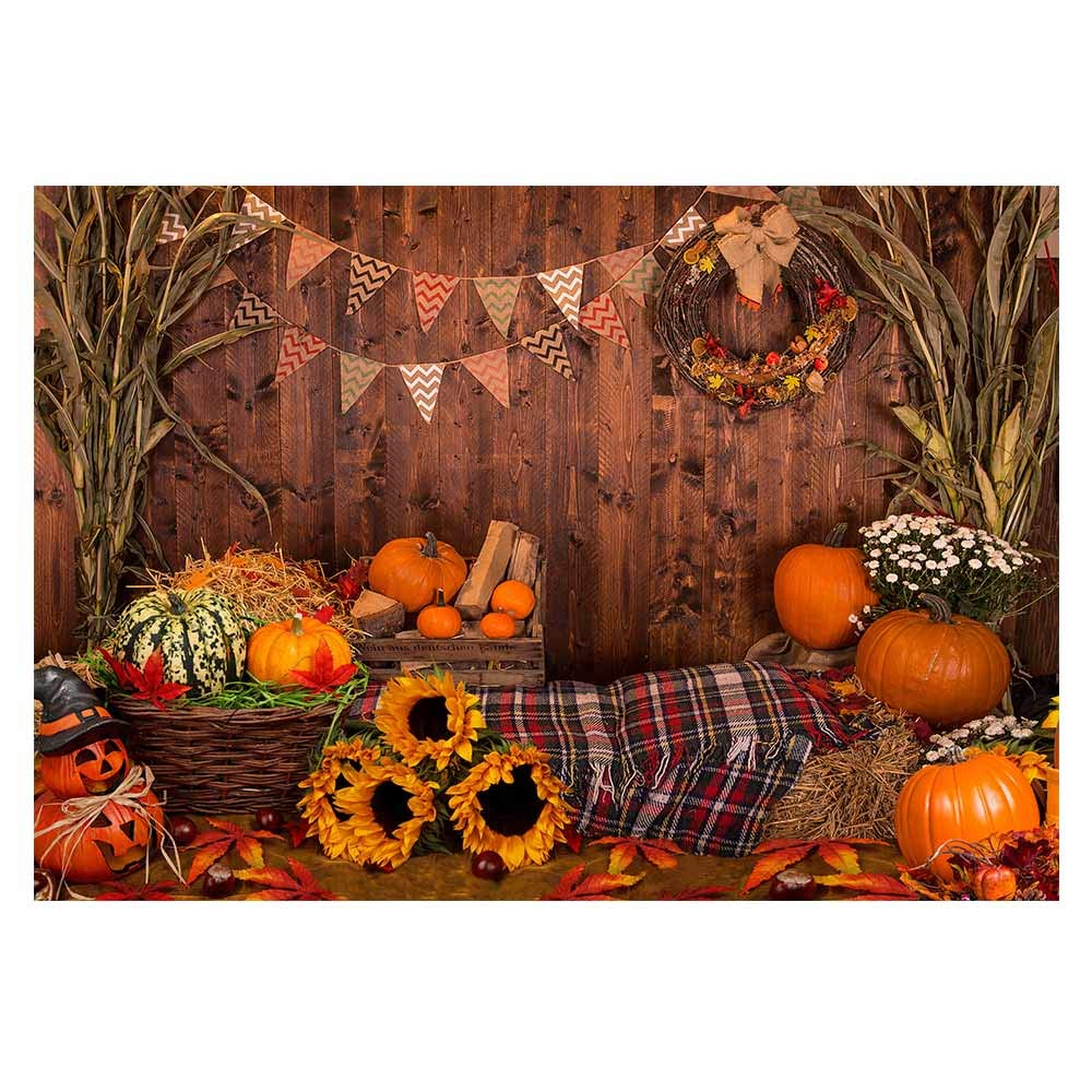 Funnytree 7x5ft Fall Thanksgiving Photography Backdrop Rustic Wooden Floor Barn Harvest Background Autumn Pumpkins Maple Leaves Sunflower Baby Portrait Party Decoration Photo Studio Booth Props by Funnytree