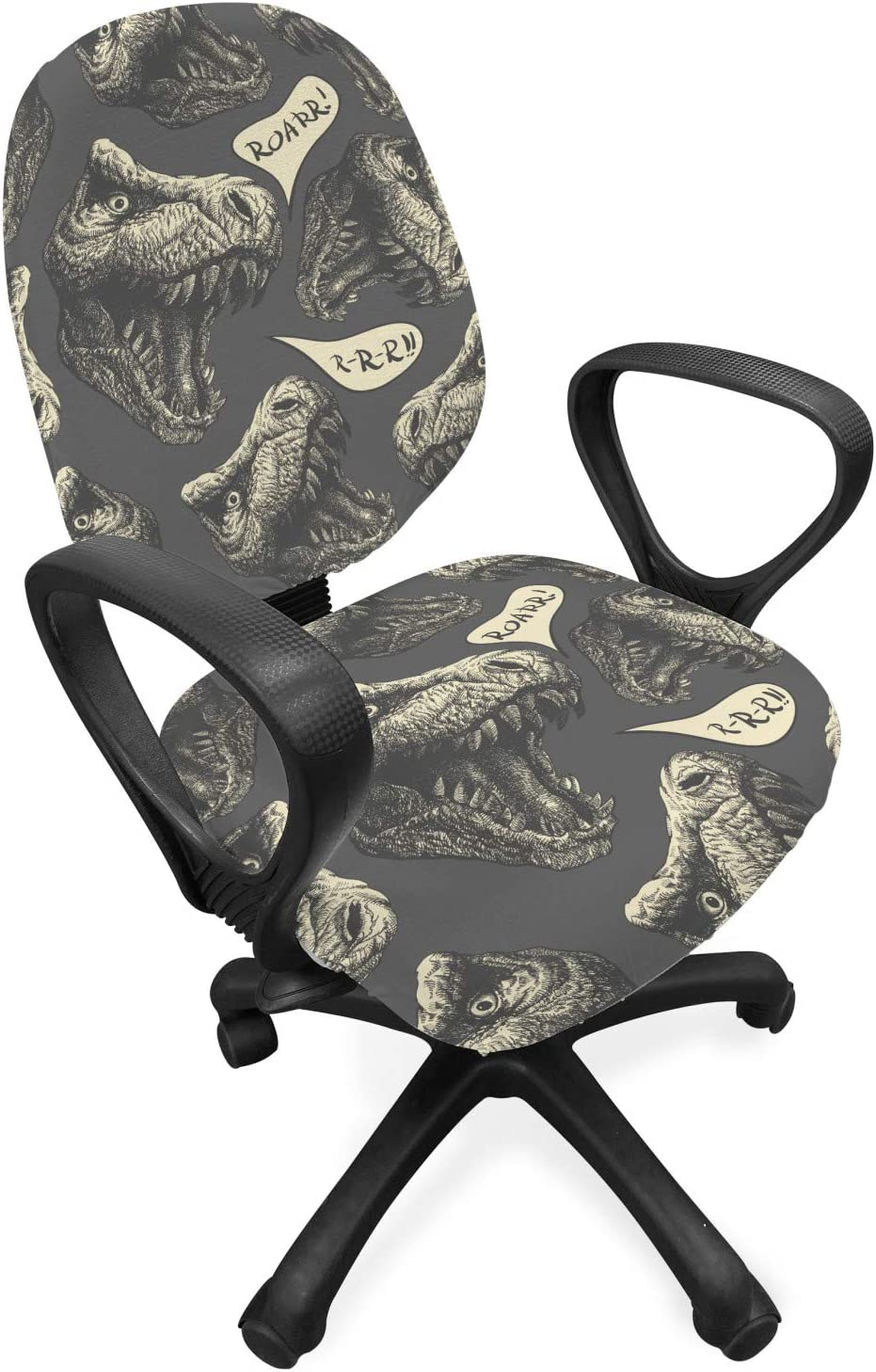 Lunarable Jurassic Office Chair Slipcover, Dinosaur Cartoon Tyrannosaurus Paleontology Animals Illustration, Protective Stretch Decorative Fabric Cover, Standard Size, Charcoal Grey