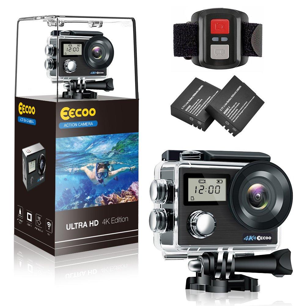 Zerone Wasserdichte Sport Action Kamera, EECOO 4K HD Wifi Kamera Dual Screen 2 Zoll LCD Cam 12MP 30M 170 Grad Weitwinkel 2 Wiederaufladbare 1050mAh Batterien, Fernbedienung und Montage Zubehör Kits