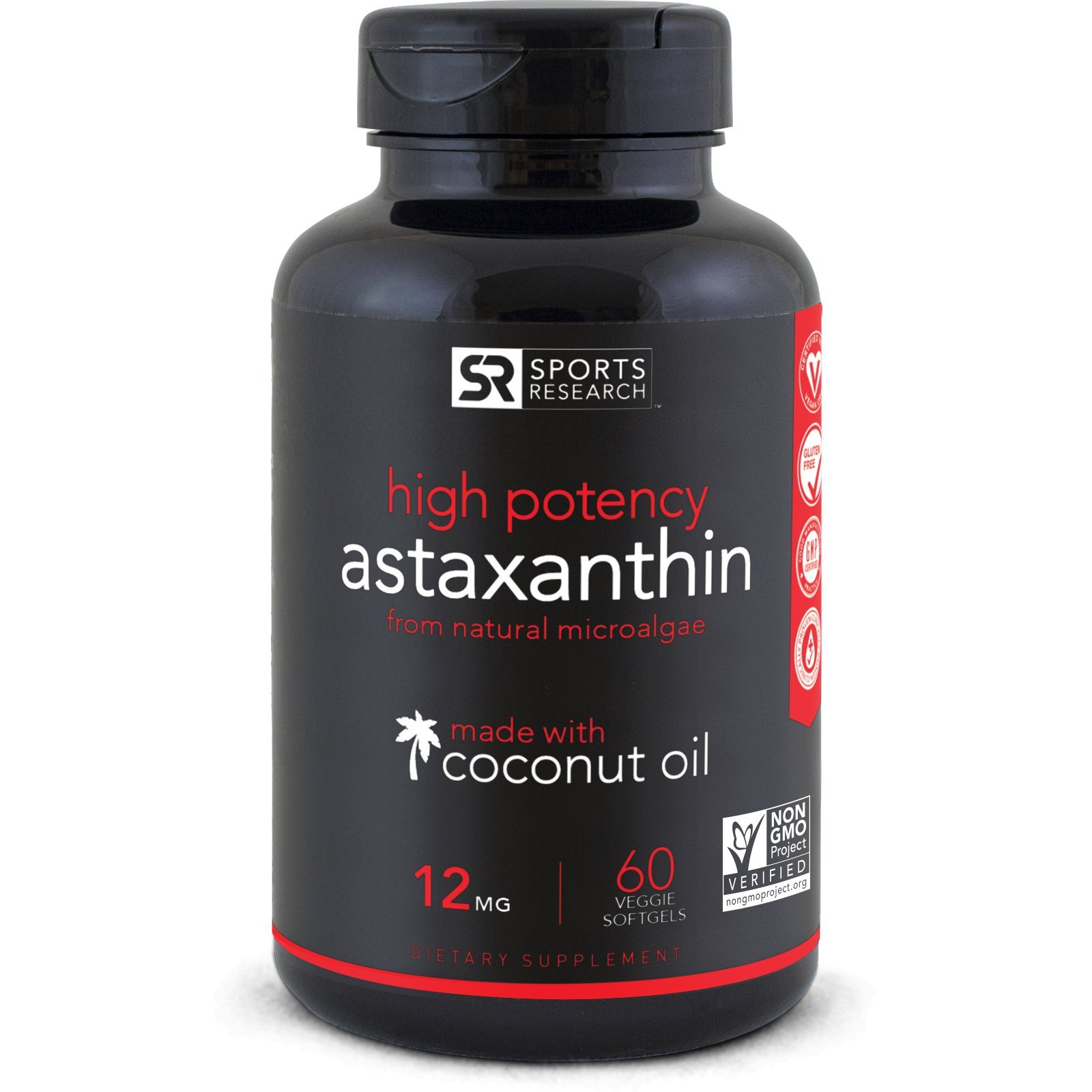 Astaxanthin (12mg) with Organic Coconut Oil; Non-Gmo Verified and Vegan Friendly| Powerful Antioxidant Naturally Supporting Joint, Skin, & Eye Health - 60 Veggie Softgels