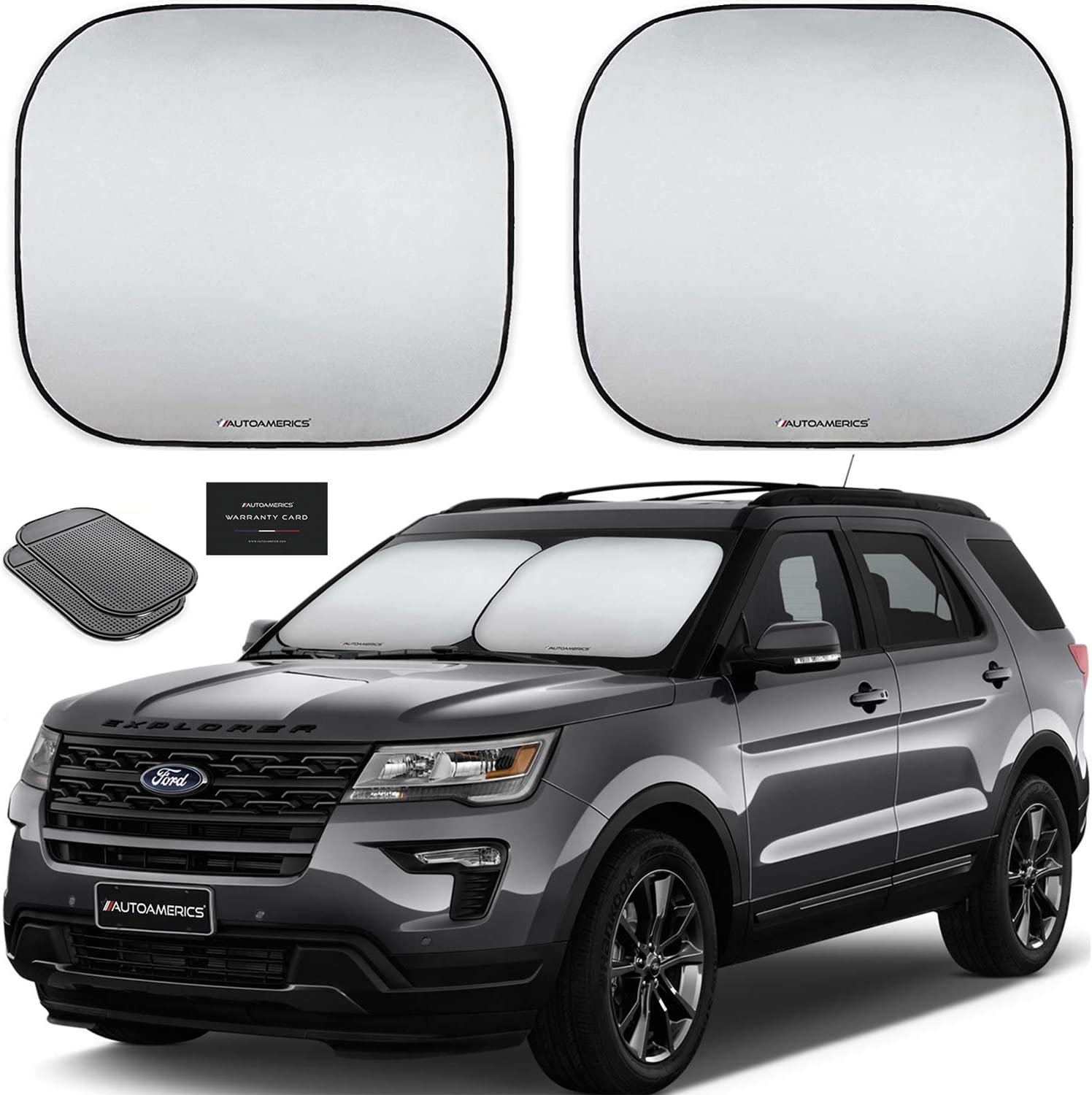 X AUTOHAUX 2 Pair Side Window Sun Shades Protection Black Mesh for Car Vehicle SUV Truck Van 24.80x16.54 Inch