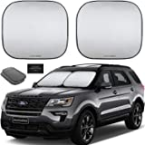 Autoamerics 2-Piece Windshield Sun Shade Foldable Car Front Window Sunshade for Most Sedans SUV Truck - Auto Sun Blocker…