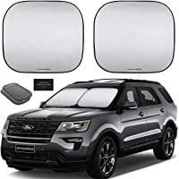 Autoamerics 2-Piece Windshield Sun Shade Foldable Car Front Window Sunshade for Most Sedans SUV Truck - Auto Sun Blocker Visor Protector Blocks Max UV Rays and Keeps Your Vehicle Cool (Universal Fit)