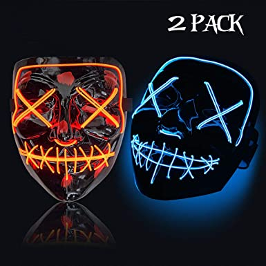 Trentixel 2 Pack LED Halloween Mask Halloween Mask Cosplay Led Costume Mask EL Wire Light up for Halloween Festival Party