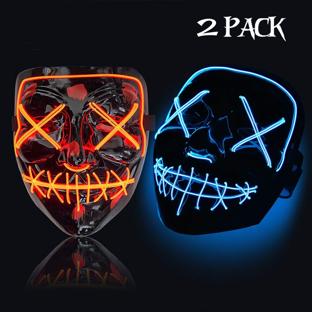 Trentixel 2 Pack LED Halloween Mask Halloween Scary Mask Cosplay Led Costume Mask EL Wire Light up for Halloween Festival Party