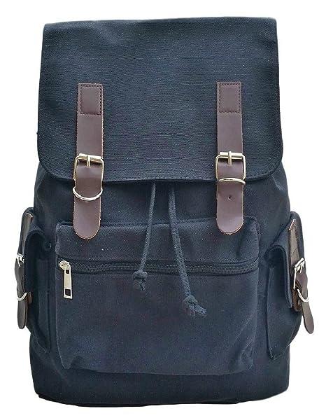 32634affd7cf AM Landen Unisex Canvas Backpack Weekend Bag Casual Bag Multifunction  Backpack(Black)