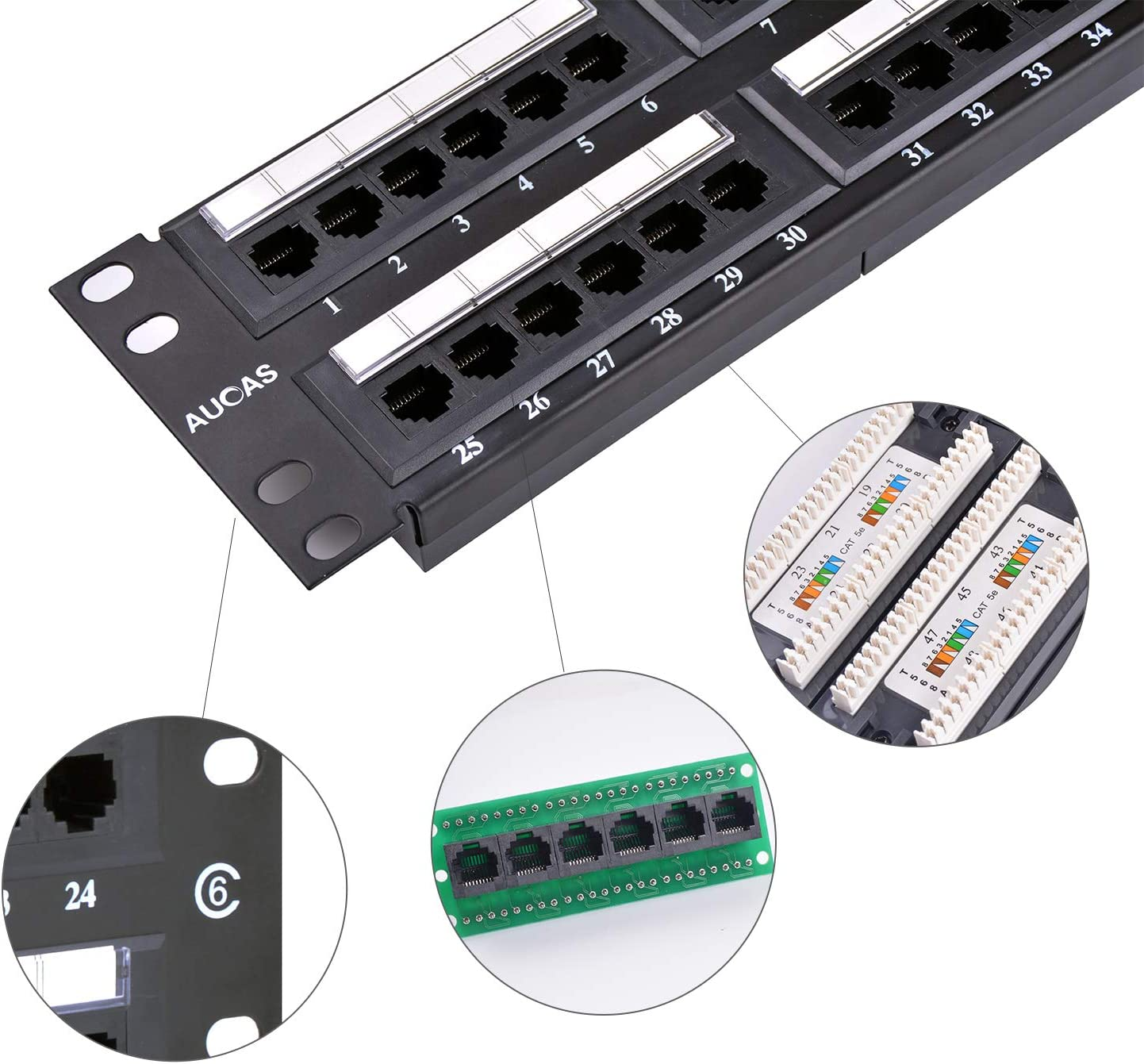 Cat5e 24 Ports UTP Patch Panel Frame 50U Electroplate with Dust-Proof Cap Wallmount or Rackmount Blank Keystone Jack Patch Panel