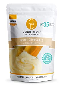 Good Dee's Just Add Water White Chocolate Frosting Mix - Low Carb Keto Frosting Mix (35 Calories, 1g Net Carb Per Serving) | Gluten-Free, Sugar-Free & Maltitol-Free | Diabetic, Atkins & WW Friendly