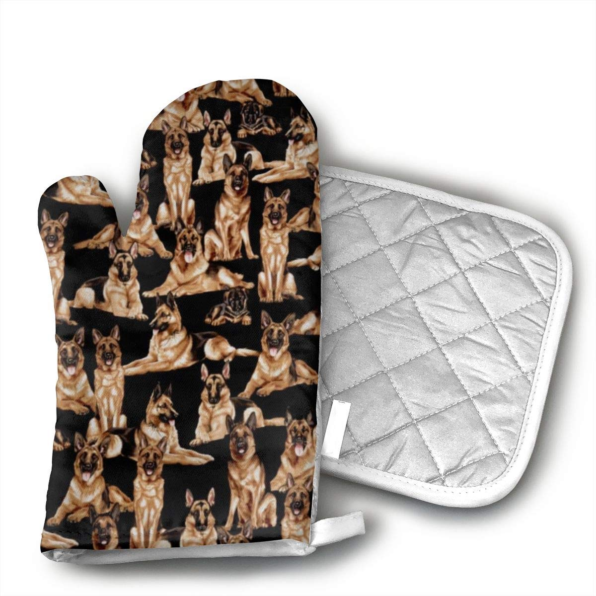 Ydsgjds Dog Show German Shepherds Oven Mitts and BBQ Gloves Pot Holders, Heat Resistant Mitts for Finger Hand Wrist Protection with Inner Lining