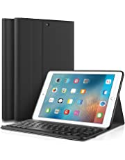 """IVSO New iPad 9.7"""" 2018/2017 Keyboard Case [QWERTY layout], Slim Front Support Stand PU Cover Case With Detachable Removable Wireless Keyboard for Apple iPad 9.7 2018/2017 9.7 inch Tablet, Black"""
