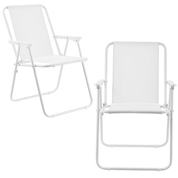 [casa.pro] Set de 2 sillas de Camping Plegables Blancas Marco de Acero para jardín, balcón, terraza o Playa