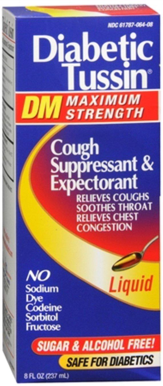 Diabetic Tussin DM Cough Suppressant/Expectorant Maximum Strength 8 oz (Pack of 11)