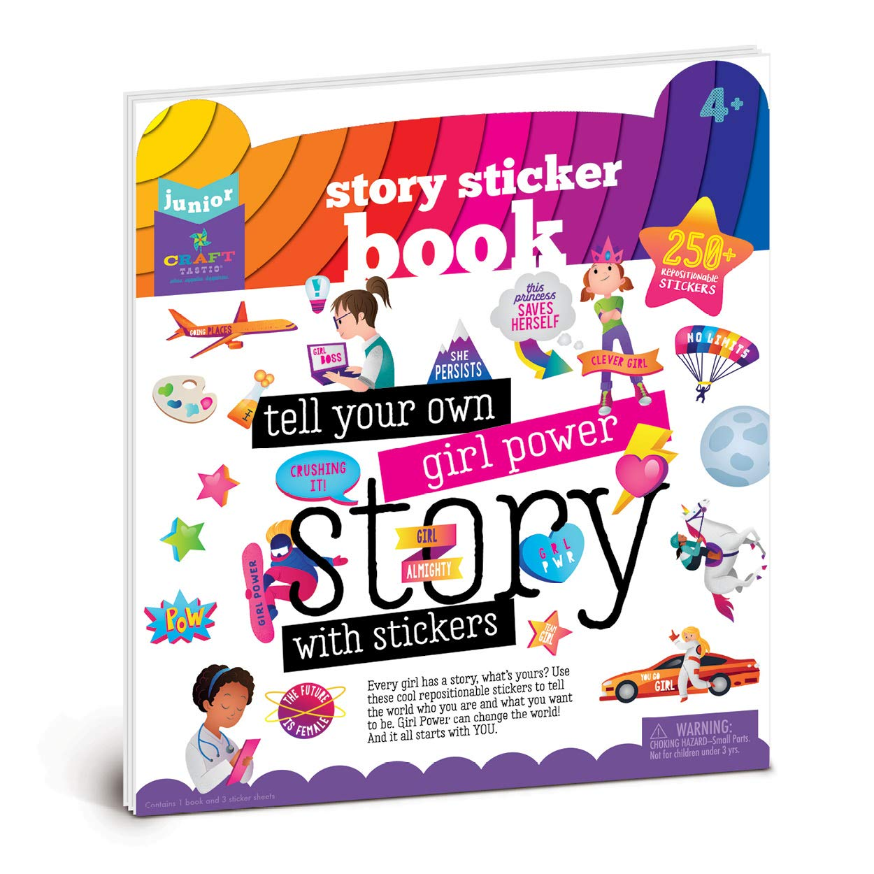 Amazon com craft tastic jr girl power story sticker book inspire girls to tell their stories with reusable stickers toys games