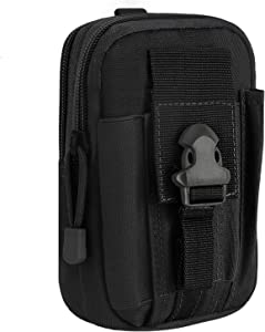 """MoKo Universal Outdoor Waist Bag, Molle Pouch Camping Belt Purse Compatible for 6.8"""" Phone, iPhone SE 2020/11 Pro/11/11 Pro Max/Xs Max/XR/Xs/X, Galaxy Note 10/Note 10 Plus/S10e/S10/S10 Plus - Black"""