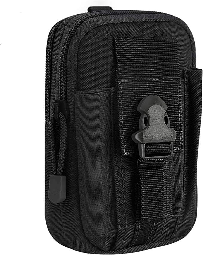 Outdoor Tactical Waist Bag EDC Belt Waist Pouch Security Purse Phone Carrying Case for iPhone Xs Max 8 7 Plus Galaxy S9 S8 Or Less Than 6.0 inches Smartphone Small Black